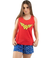 baby doll 4 estações regata verão adulto moda pijama mulher maravilha vermelho - kanui