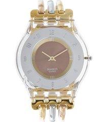 reloj swatch dorado-plata