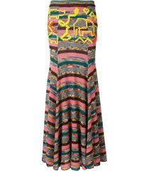 missoni long patchwork skirt - pink