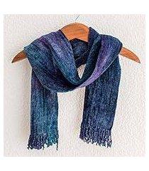 cotton blend scarf, 'sapphire dreamer' (guatemala)