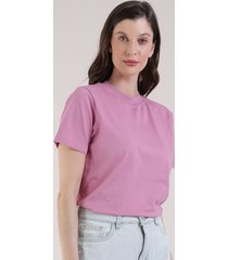 t-shirt feminina mindset manga curta decote redondo rosa escuro
