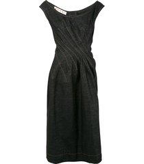 marni gathered waist denim dress - black