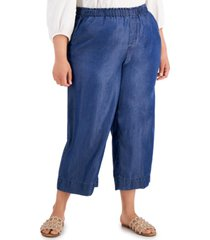 bar iii plus size cropped pull-on pants, created for macys
