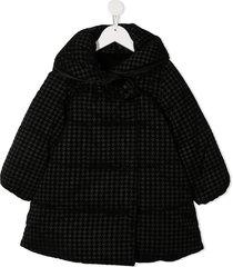 abel & lula checked padded coat - black