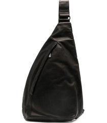 yohji yamamoto one-shoulder triangle backpack - black