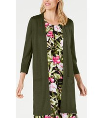 kasper long open-front cardigan