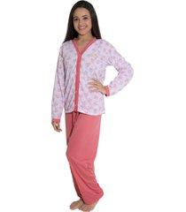 pijama  linha noite longo goiaba - coral - feminino - dafiti