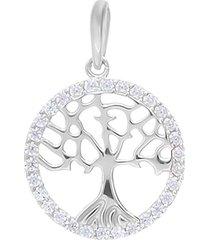 ciondolo albero della vita in oro bianco e zirconi per donna