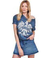 t-shirt damski z orłem granatowy