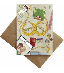 by ms james purse contents and earrings birthday card