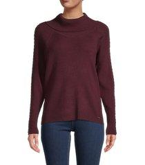 t tahari women's braided-trim sweater - merlot grape - size m