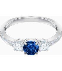 anello attract trilogy round, azzurro, placcatura rodio
