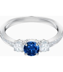 anello attract trilogy round, azzurro, placcatura rodio