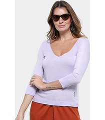 blusa cantão decote v malha viscose feminina