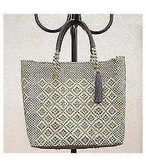 leather accented plastic tote, 'slate diamonds' (mexico)