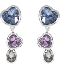 orecchini pendenti in metallo rodiato e pietre con cuori per donna