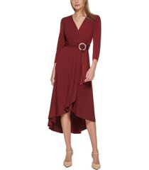 calvin klein belted wrap-style dress