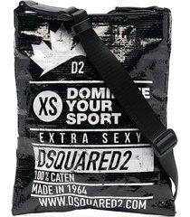 dsquared2 patent logo-print messenger bag - black