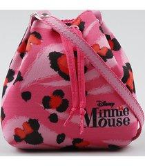 bolsa saco estampada animal print minnie rosa