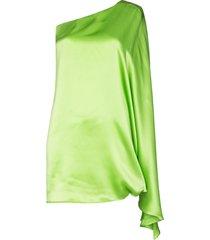 bernadette one-shoulder silk mini dress - green