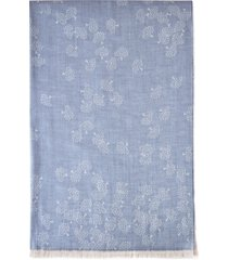 women's mulberry tamara cotton scarf, size one size - blue