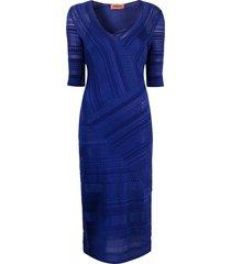 missoni patterned fine knit dress - blue