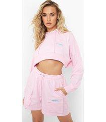 official korte hoodie, pink