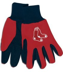 mlb sport utility work gloves with grippy rubber palm (boston red sox red)