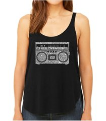 la pop art women's premium word art flowy tank top- greatest rap hits of the 1980's