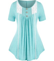 plus size crochet panel short sleeve tunic tee