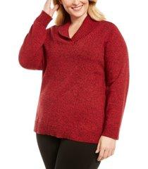 karen scott plus size marled cotton shawl-collar sweater, created for macy's