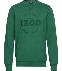 tonal printed logo fleece crew sweat-shirt tröja grön izod