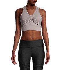 nine west women's ruched midi sports bra - opal grey - size xl