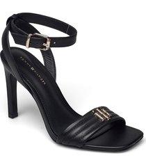 tommy padded high heel sandal sandal med klack svart tommy hilfiger