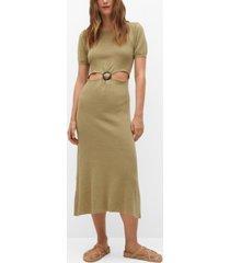 mango women's cut-out linen-blend dress