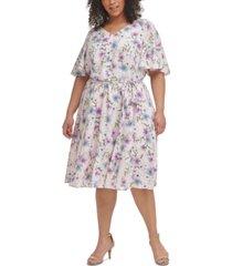 calvin klein plus size floral-print flutter-sleeve challis dress