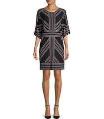 striped three-quarter sleeve shift dress