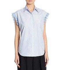 striped lace-up back shirt