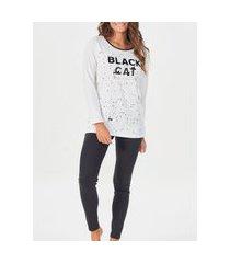 pijama feminino longo espaço pijama 40909 branco/preto