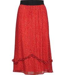 debbi knälång kjol röd custommade