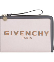 givenchy bond leather and canvas flat pouch