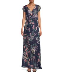 kay unger women's tulip sleeve floral dress - navy - size 4