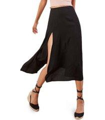 plus size women's reformation zoe side slit midi skirt, size 22w - black