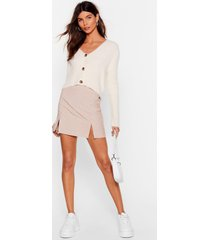 womens check me out slit mini skirt - beige