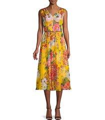 floral midi silk dress