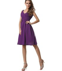 kivary women's short v neck pleated knee length prom bridesmaid dresses purple u