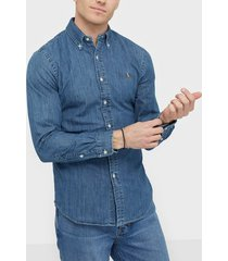 polo ralph lauren slim fit denim shirt skjortor dark wash