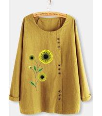 camicetta a maniche lunghe con bottoni stampati a fiori di sole plus