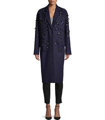 embellished virgin wool coat
