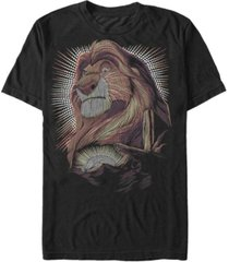 disney men's lion king mufasa pride rock dot art retro portrait short sleeve t-shirt